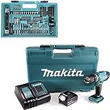 Makita DHP453FX12 Kombi-Bohrer, 18 V, mit 1 x 3,0 Ah Akku und 101-teiligem Zubehör-Set