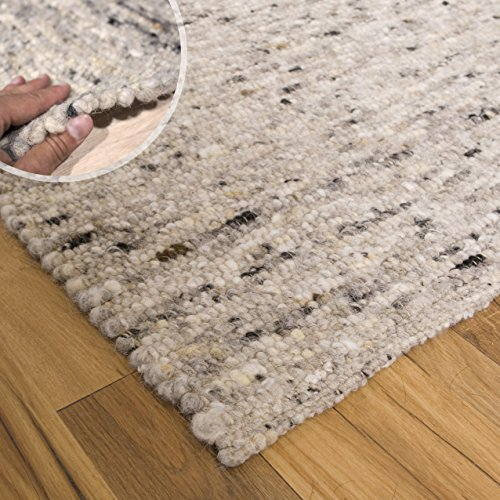 Teppich Wölkchen Hand-Web-Teppich Hooge   Handgewebte Schurwolle im modernen Design   Fürs Wohnzimmer, Esszimmer, Schlafzimmer oder Kinderzimmer   weich, mehrfarbig (Kiesel - 90 x 160 cm)