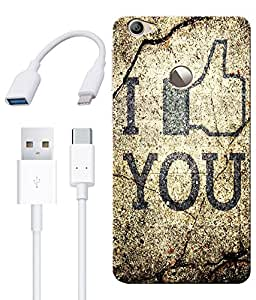 Combo of Love You HD UV Printed Mobile Back Cover, Charging Cable and OTG Cable For Letv Le 1S
