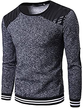 HY-Sweater Pull Capucha Version Coreana de la Golpe (el Parche Patch Round Neck–Camiseta Manga Larga Camiseta...