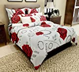 Home Candy 144 TC Red Cotton Double Bedsheet with 2 Pillow Covers - White (CTN-BST-414)
