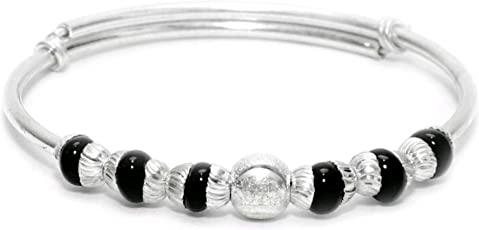 RAJLAXMI JEWELLERS 925/92.5 PURE SILVER NAZAR BABY BANGLE/BALA WITH BLACK BEADS ADJUSTABLE FROM 3 MONTHS TO 5 YEARS FOR BABIES TO PROTECT FROM EVIL EYE (2 PIECE) WITH CERTIFICATE REPORT