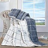 quser Baumwolle gesteppte Patchwork Gesteppte Tagesdecke bedruckt veredelungstechnik Decke Nap Decke Sommer, Milk white gray, 200*230cm