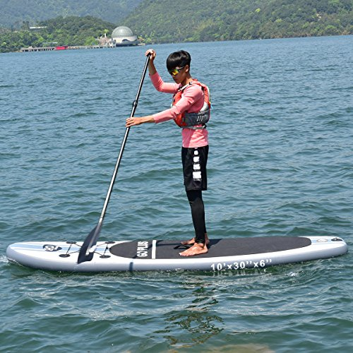 61xKFvKFy L. SS500  - COSTWAY 10FT/11FT SUP Inflatable Stand Up Paddle Board W/Carry Bag, Repair Kit, Tail Vane, Adjustable Paddle, Hand Pump with Pressure Gauge, Ideal Beginners Soft Surfing Board Kit