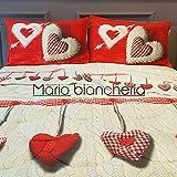 Parures draps pour lit a deux Place, en Flanelle, MADE IN ITALY, Dessin Coeur Rouge