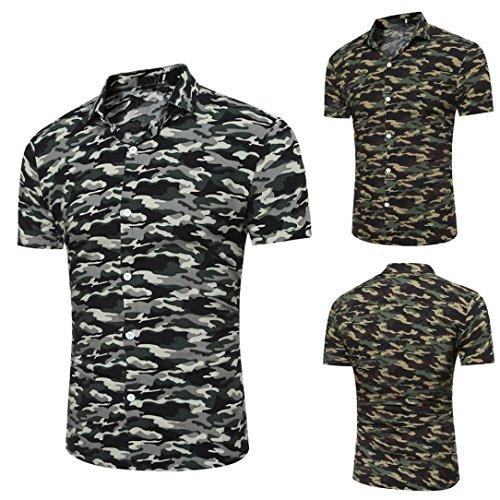 Chemise de Camouflage, Malloom Personnalité Homme Décontractée Svelte Blouse Imprimée à Manches Courtes