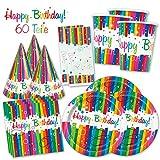 PartyMarty Happy Birthday PartyBox Rainbow - Das knallbunte Party Set für eine tolle Geburtstagsfeier - Ausstattung mit Teller, Becher, Servietten & Co. (Premium für 8 Gäste - 60-TLG GmbH®