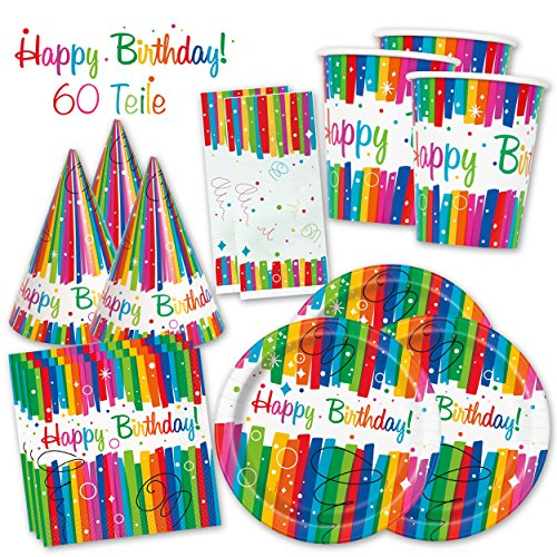 Box Rainbow - Das knallbunte Party Set für eine tolle Geburtstagsfeier - Ausstattung mit Teller, Becher, Servietten & Co. (Premium für 8 Gäste - 60-tlg.) - PARTYMARTY GMBH® (Rainbow Teller Und Servietten)