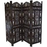 Panel de 4diseño de campanas de madera indio tallada a mano Biombo [Marrón]