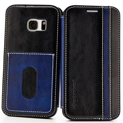 Handyhülle für Samsung Galaxy S7 Hülle Schutzhülle Handytasche Case Cover Grau mit Kartenfach Schwarz