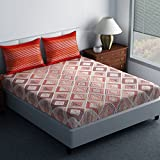 Spaces Essential 144 TC Cotton Double Bedsheet with 2 Pillow Covers - Abstract, Red