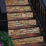 Adesivi per scale in pietra retrò 3D creative vecchia home decor soggiorno adesivi murali autoadesivi rimovibili 18 * 100 cm * 6 pezzi