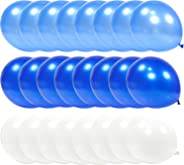 PartyWoo Blue and White Balloons, 100 pcs 12 Inch Royal Blue Balloons, Pale Blue Balloons and White Balloons, Blue White Part