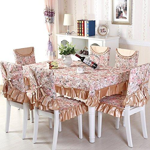 BLUELSS Florales Muster 13 Stk/Set Tischdecke und Dining Chair deckt Rechteckige Tischdecke Home Textile Hochzeit Tisch und Stuhl deckt Coffeeabout 130 x 180 cm (Deckt Hochzeit Stuhl)