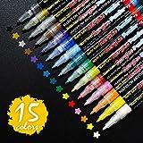 SAYEEC 15 couleurs assorties extra fine acrylique peintre stylos-0.7mm fine ligne stylos acrylique marqueur Kit de marqueur pour la peinture roche, Art de galets, pierre, porcelaine, céramique