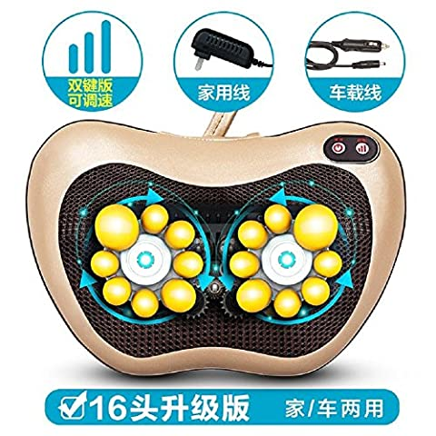 HOMEE Cervical Spine Massage Multi - Functional Electric Body Cushion Massage Pillow Car Home Used,gold