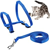 Petlicious & More Cat Adjustable Nylon Harness Strap Collar with Leash Set Small Pet Walking (Blue)