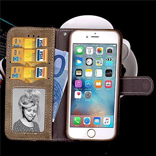Embossed Blumen Retro Folio Premium PU Ledertasche Magnetverschluss Wallet Stand Stil Handschlaufe Case Cover für iPhone 6s Plus ( Color : Brown , Size : IPhone 6s Plus ) Brown