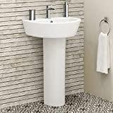 Modern Bathroom White Ceramic Basin Sink and Full Pedestal