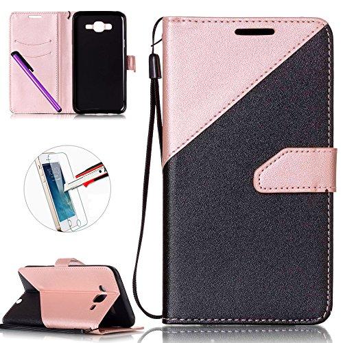 Samsung Galaxy J7Premium Flip Case, Samsung Galaxy J72015custodia a portafoglio, Samsung Galaxy J7pellicola protettiva in (Vetro Peacock)