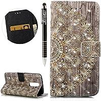 LG K7 Hülle,LG K8 Hülle,LG K7/LG K8 Ledertasche Handyhülle Brieftasche im BookStyle,SainCat Retro 3D Muster Sparkle... preisvergleich bei billige-tabletten.eu