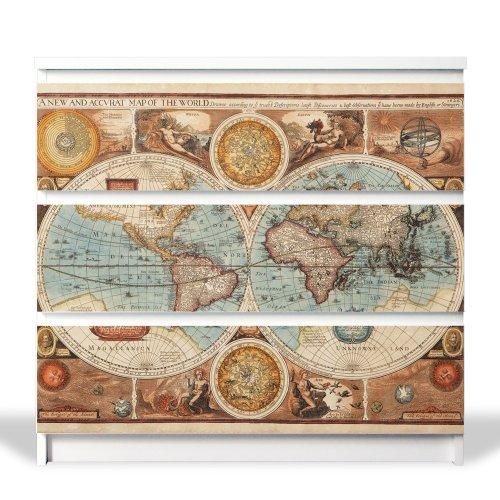 banjado YOURDEA MöbelFolie für IKEA Malm Kommode mit 3 Schubladen   Möbelaufkleber 3-teilig ca. 80x78cm   Möbelsticker Selbstklebend mit Motiv Historische Weltkarte