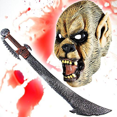 HALLOWEEN Set Spezial - Wolfman Maske + Ork Schwert