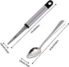 Outgeek 4PCS Grapefruit Spoon Fruit Spoon Stainless Steel Serrated Dessert Spoon with Grapefruit Peeler