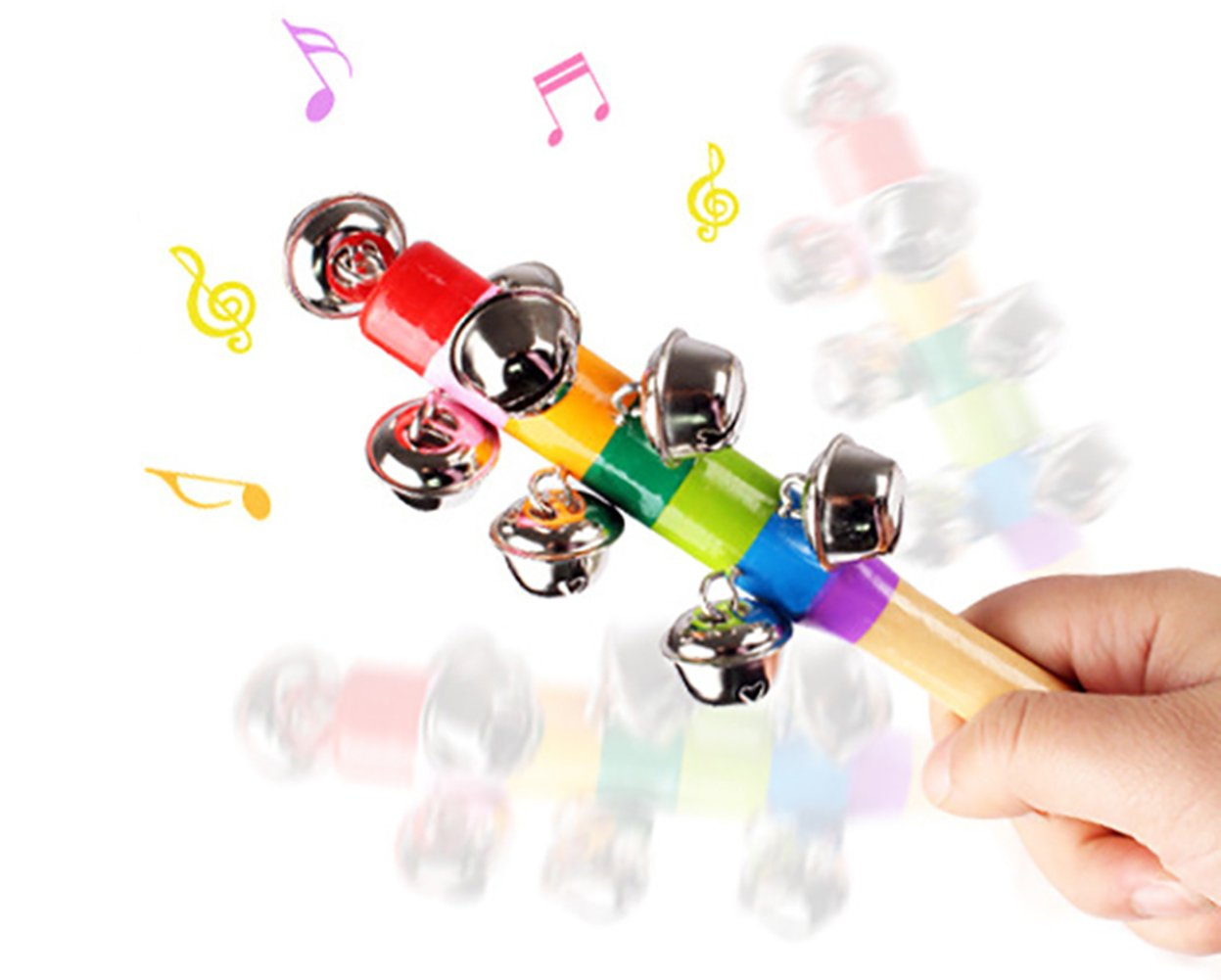 Scrox 1Pcs Lovely Children Boys Girls Musical Toys Colorful Orff instruments Colorful Rattles Rainbow Pram Crib Handle Wooden Bell Stick Shaker Rattle Toy Music Developmental Toys,18CM