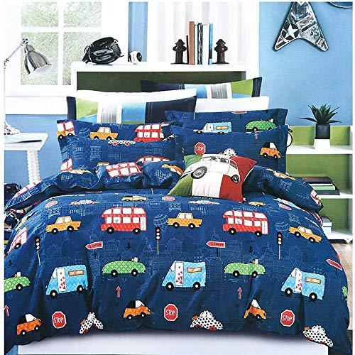 en Bettwäsche Autos 135x200 mit Kopfkissenbezug 80x80 100% Mikrofaser Blau Cars Automotiv Bettbezüge Kinderbettwäsche-Set Babybettwäsche ()