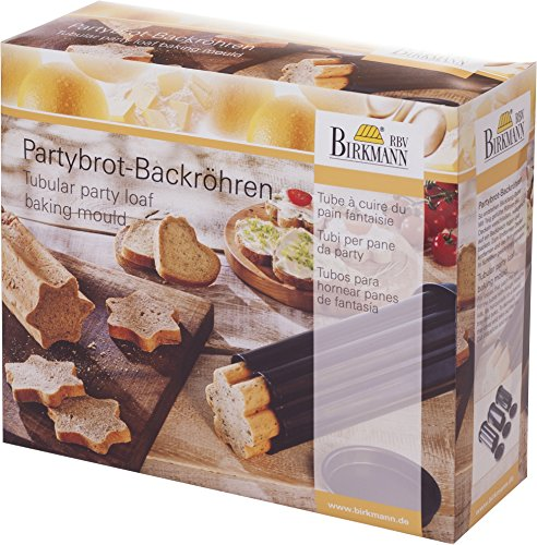 Birkmann Tubular Party Loaf Baking Moulds Set, Metal, Black