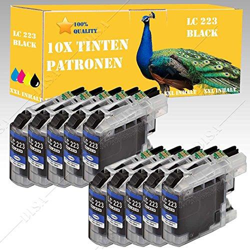 Preisvergleich Produktbild 10x Patronen alternativ mit BROTHER LC223 schwarz MFC-J 4625 DW / MFC-J 480 DW / MFC-J 5320 DW / MFC-J 5620 DW