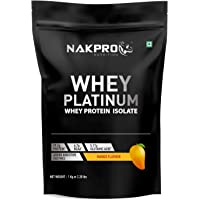 Nakpro Platinum 100% Whey Protein Isolate with Digestive Enzymes, Whey Protein Supplement Powder from USA - Mango (1 kg - 30 Servings)