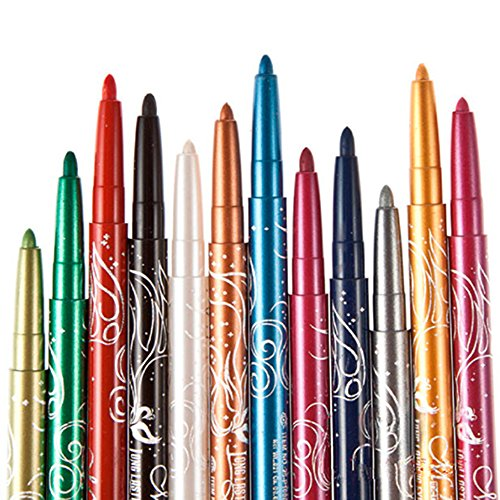 Sanwood 12 Colors Eye Shadow Lip Liner Eyeliner Eyebrow Pen Makeup