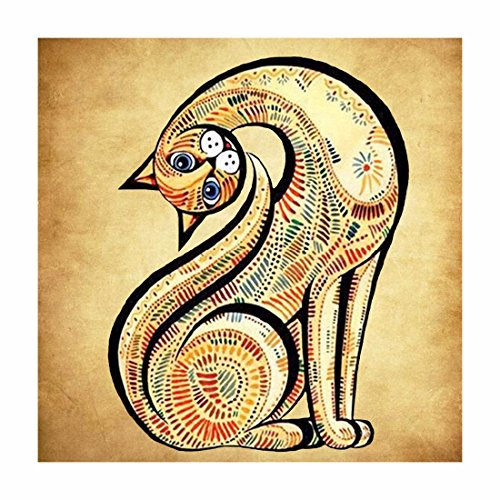 Qiyun. Z 5D DIY handgefertigt Diamant Rund Stickerei Gemälde Strass Kreuzstich Set Mosaik Home Raum Dekoration, Long neck cat, 30*30cm (Stickerei Neck Square)