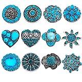 Souarts Gemischte Blau Silberfarbe Strass Click Button 5.5mm Druckknopf Set 12 Stücke