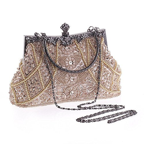 hoxis Damen Vintage Weich Perlen Pailletten froral Design Metall Rahmen KISS LOCK Satin Clutch Wallet ¨ C cl1451, grau (Grau) - CL1451 silber