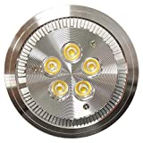 Cablematic - Foco empotrable LED AR111 G53 5W 95mm plateado blanco cálido 3000K