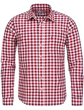 Almsach Trachtenhemd Slim Fit Zweifarbig in Weinrot und Rot