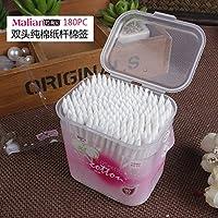 XNWP-In box carta antibatterica baby polvere-libera dei tamponi di cosmetici la punta di utensile a testa circolare di raddoppiare il bastoncino di cotone