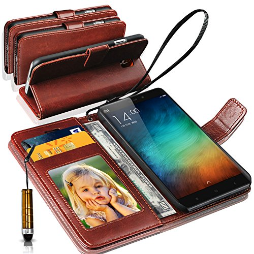 N+ India Rich Leather Stand Wallet Flip Cover Book Pouch Phone Bag Antique Leather Case for Xiaomi Redmi 3s Prime/3S with Touch Stylus Pen Brown