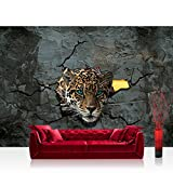 Vlies Fototapete 416x254cm PREMIUM PLUS Wand Foto Tapete Wand Bild Vliestapete - Tiere Tapete Leopard Augen Steinwand Steine Wand grau - no. 2861