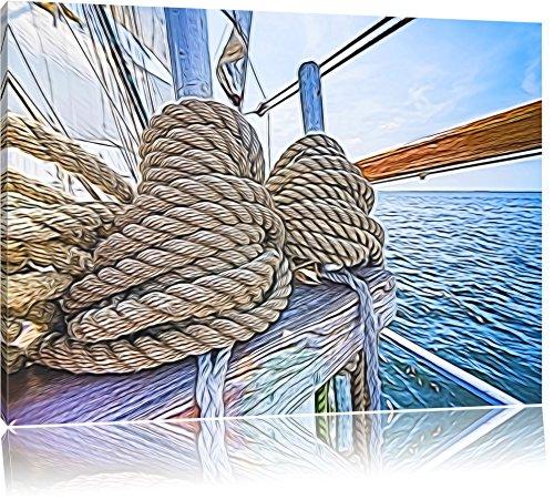 straffe Seile auf einem Schiff auf Leinwand, XXL riesige Bilder fertig gerahmt mit Keilrahmen, Kunstdruck auf Wandbild mit Rahmen, günstiger als Gemälde oder Ölbild, kein Poster oder Plakat, Format:80x60 cm