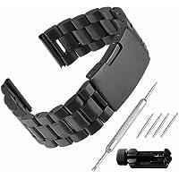 Beauty7 Bande Bracelet de Montre en Acier Boucle Deployante Remplacement Bande de Poignet Epaisse de 3.5mm Noir