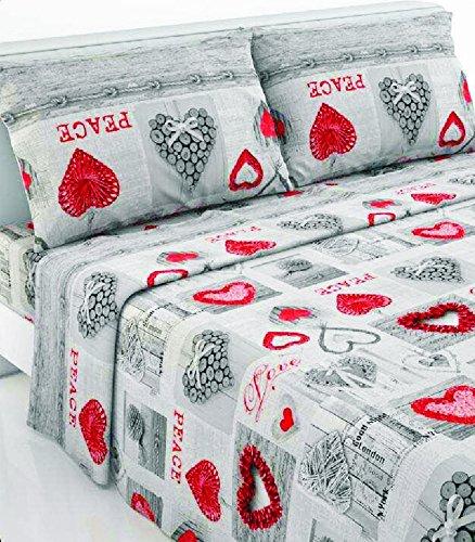 Casanov'è set completo letto lenzuola flanella 100% cotone art paradise dis love