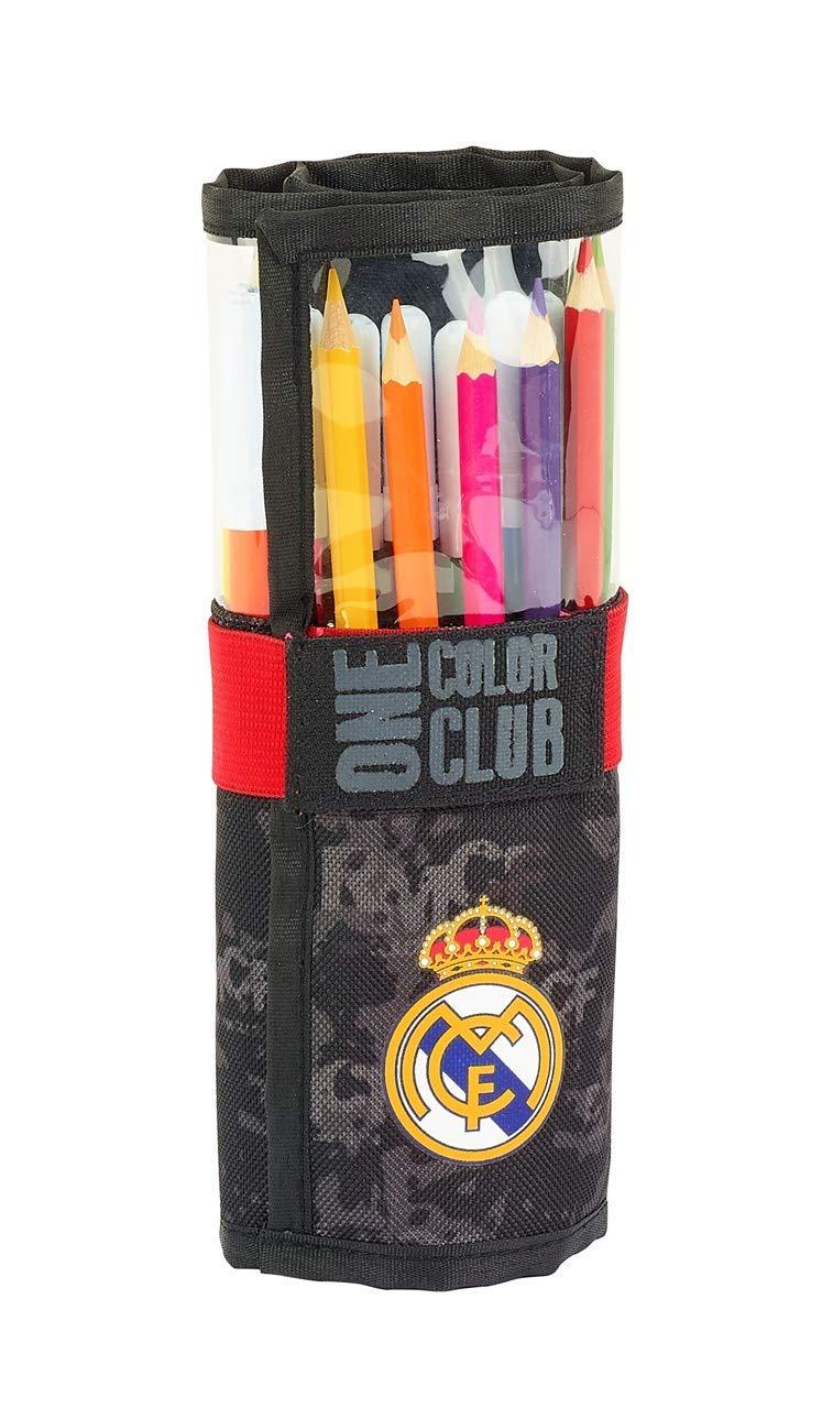 Real Madrid- Estuches Unisex Adulto Plumier Enrollable 27 Piezas Black' 411924-786 Portaminas y Plumas Instrumentos de Escritura,, Talla única (SAFTA 1)