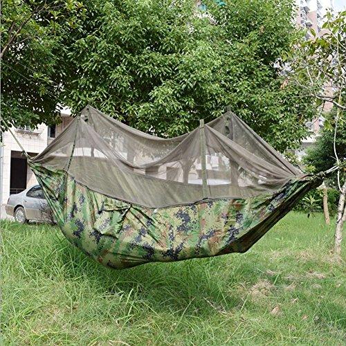 Moskitonetz-Hängematte, TOPBY Fallschirm Nylon Gewebe Reisen Camping Dschungel Hängematte, Mehrpersonen 250 x 135 cm, Belastbarkeit bis 250 kg, Camo Camo Moskitonetz