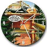 Veit's originelle, lustige Cartoon Wanduhr für Beruf Bau Dachdecker Handwerker - Ich habe die Dachlatten nicht eingeölt!