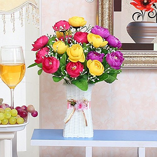 hen Stil Künstliche Blume Home Dekoration Blumen Warenkorb Kit, Gelb Und Rot (Herbst-tabelle Mittelstücke)
