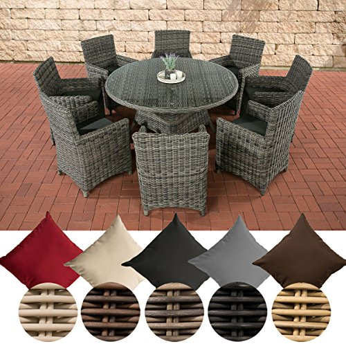 CLP Gartengarnitur LARINO XL | Gartenmöbel-Set aus Polyrattan und mit Aluminium-Gestell erhältlich Bezugfarbe: Anthrazit, Rattanfarbe: Grau-meliert